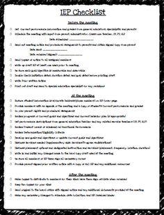 Teaching Special Thinkers: IEP Checklist FREEBIE