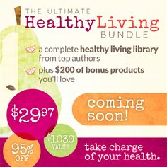 Want to get healthy? Wishing you had more energy? You need to check out this AMAZING Healthy Living Bundle Sale coming in a few weeks. Click through and sign up for your refer-a-friend link and you'll get $5 off you refer one friend! Refer 10 friends and you'll get the ENTIRE bundle for FREE!!!!