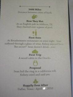 Wedding program timeline - but linear...