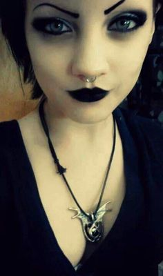 Dark sexy gothic makeup, black lip, eye