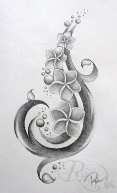black and white plumeria tattoo - Google Search