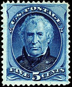 Zachary Taylor 1875 Issue-5c. - On June 2, 1890 the US Post Office issued a brown 5-cent Postage stamp honoring Ulysses S. Grant. It was the first US Postage stamp to depict the former President and Civil War General. This issue was released exactly twenty-five years after Gen. Edmond Kirby Smith's surrender of the last major Confederate army at Galveston, Texas, on June 2, 1865. The issue was printed by the American Bank Note Company.[43]