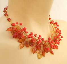 Fall necklace  Berry necklace  Red necklace  Rowan by insoujewelry, $82.00