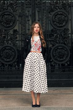 #outfit #cool #style #elegant #efortless #chic #fashion #dots #mixmatch #print #streetstyle midi skirts, full skirts, fashion, polka dots, school parties, graphic tees, winter outfits, graphics, leather jackets