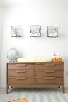 dresser + changing table. baskets above for masculine storage.