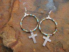 Boho Silver Teal and Amber hoop  Cross earrings by fleurdesignz