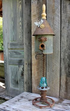 old junk bird house