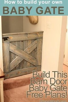 :) DIY Barn Door Baby Gate (Plans and photos!) I l - :) DIY Barn Door Baby Gate (Plans and photos!) I love this. I love it so much.  Repinly Kids Popular Pins