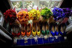 Instead of different colored dresses :) Rainbow Bridesmaid « David Tutera Wedding Blog • It's a Bride's Life • Real Brides Blogging til I do!