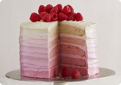 Driscoll's Pink Raspberry Ombre Cake www.driscolls.com #driscolls #sweepstakes