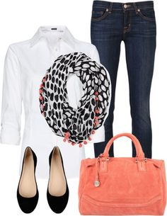 Simple Outfit: dark jeans, white button down, colorful accent scarf, black flats, bright solid color bag.