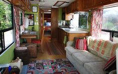 interior, bus, mobile homes, dream, wheels, rv live, guest houses, accent colors, home offices