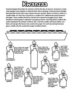 Informational Kwanzaa Coloring Sheet - - Pinned by @PediaStaff – Please visit http://ht.ly/63sNt for all (hundreds of) our pediatric therapy pins