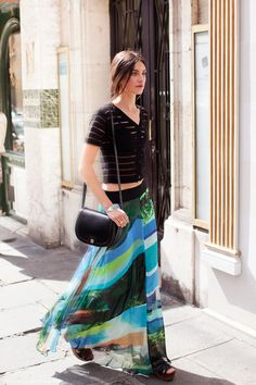 Black #Top & #Maxi #Printed #Skirt #Style #Fashion #Women