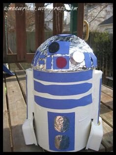 Split your handsome face with a grin, because you have the coolest. Valentine's box.  Ever. valentine box, idea, craft, img8373, valentin box, holiday fun, boxes, coolest valentin, r2d2 valentin