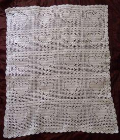 Bordered Heart Crochet Filet Blanket
