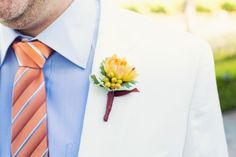 Tara & Michael on Borrowed & Blue. Photo Credit Trevor Dayley Photography  #VandaFloral #boutonniere #summerwedding #orangewedding