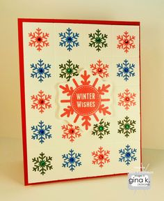 "Winter Wishes card made with:    - ""Simple Snowflakes"" stamp set by Tami Mayberry for Gina K. Designs.  - Gina K. Designs 80 lb layering weight white and cherry red card stock.  - Memento ink in Ladybug, Danube Blue, and Northern Pine.  - Gem stones in red, blue and green.    http://stamptv.ning.com/photo/winter-wishes-25?context=user"