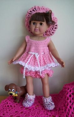Free American Girl Doll crochet outfit patterns here. At Crochetville.com