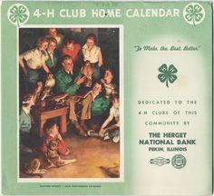 1956 4-H Club Home Calendar 4h club, 4h activ, 1956 4h