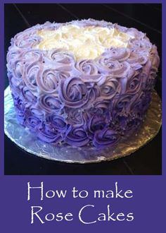 cake tutorial, little cakes, dessert recipes, cake pops, rose cake, purple cakes, purple roses, bridal shower cakes, birthday cakes