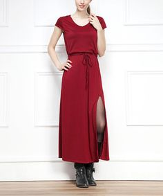 Another great find on #zulily! Red Side-Slit Maxi Dress by Miss Maxi #zulilyfinds