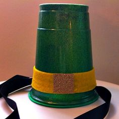 Leprechaun hat out of green Solo cup, felt and ribbon.  #irish #stpats