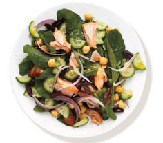 Salmon and Arugula Salad recipe: This lively salad can be prepared up to 1 day in advance. Dress with your favorite vinaigrette before serving.