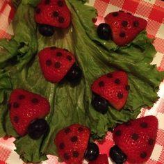 bug birthday party | Lady Bug Birthday Party Ideas / Ladybug Snack! Cut strawberry in half ...