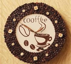 Поделки из кофейных зёрен часы 84