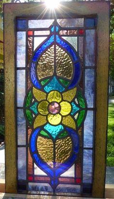 Victorian Jeweled Flower Leaded Stained Glass Window | eBay