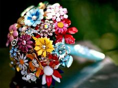 Vintage Brooch Bouquet Ideas  #wedding #fairytale #texas #realwedding #style #rustic #venue #outdoor #lighting #reception #ceremony #weddingdesign #vintage #brooch #bouquet  For more ideas visit www.pinterest.com/cathedraloaks or www.cathedral-oaks.com