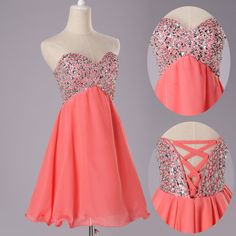 Sexy beaded cocktail dress, party dress, short bridesmaid dress, Coral Prom Dress