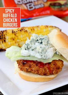 Spicy Buffalo Chicken Burgers. These make my mouth water. #chillingrillin