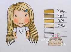 Blonde Hair Copic tutorial: Y26, Y28, Y21, E50 @Heather {Heather's Hobbie Haven}