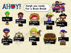 Pirate Brain Breaks from Mrs. Price's Kindergators on TeachersNotebook.com -  (1 page)  - Enjoy Brain Breaks with your students. This is a smart board slide with links to some favorite brain breaks. It is in a Pirate theme!