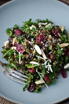 BLISS - blissful eats with tina jeffers: Kale cranberry and breadcrumb salad