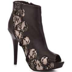 Get spotted in these smoldering booties from Dereon.  Manuela gives you a romantic beige and black lace trim joining a black faux leather at the vamp.  A 1/2 inch platform and 4 1/2 inch heel finishes this must have ankle bootie. - HighOnShoes.com