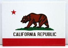 Stocking Stuffer - California Republic Postcard Magnet - White California Republic with Bear