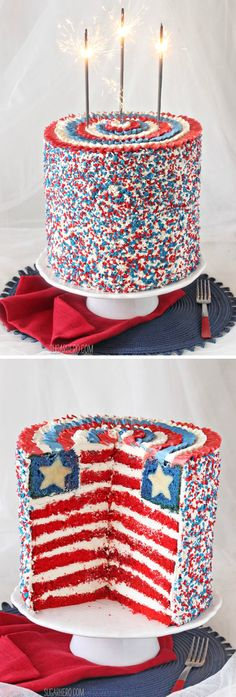 American Flag Layer Cake for the Fourth of July | From SugarHero.com