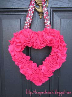 Pretty heart Valentine wreath made from pink felt