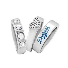 Los Angeles Dodgers LA Stacked Ring Set