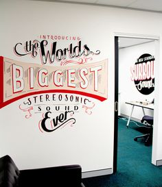 Warner Music Office Installations by Georgia Hill, via Behance #typography #design