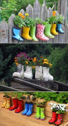 DIY Rain Boots Garden On A Fence