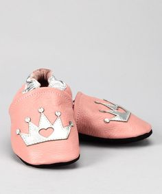Take a look at this Pink & Silver Crown Booties by Augusta Baby on #zulily today!