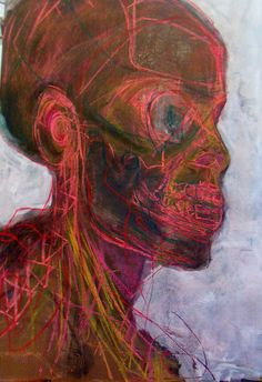 Exploration of the skull using soft pastel and gesso on canvas by Kat Ostrow