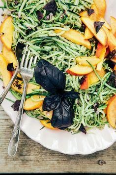 Zucchini spaghetti with pumpkin seed pesto + peaches via The First Mess #vegetarian #recipe