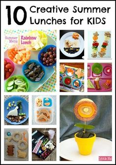 """What do your kids eat for lunch throughout the summer?  Creative lunches aren't just for lunch boxes! Here are 10 creative summer lunches for kids at B-InspiredMama.com."""