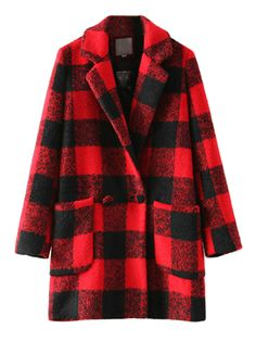 Red Check Pocket Lapel Woolen Coat