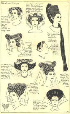 medieval hats, femal hat, renaissance hats, mediev hat